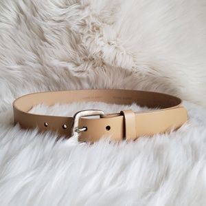 Accessories - Leather Belt Antiqued Silver Metal Buckle